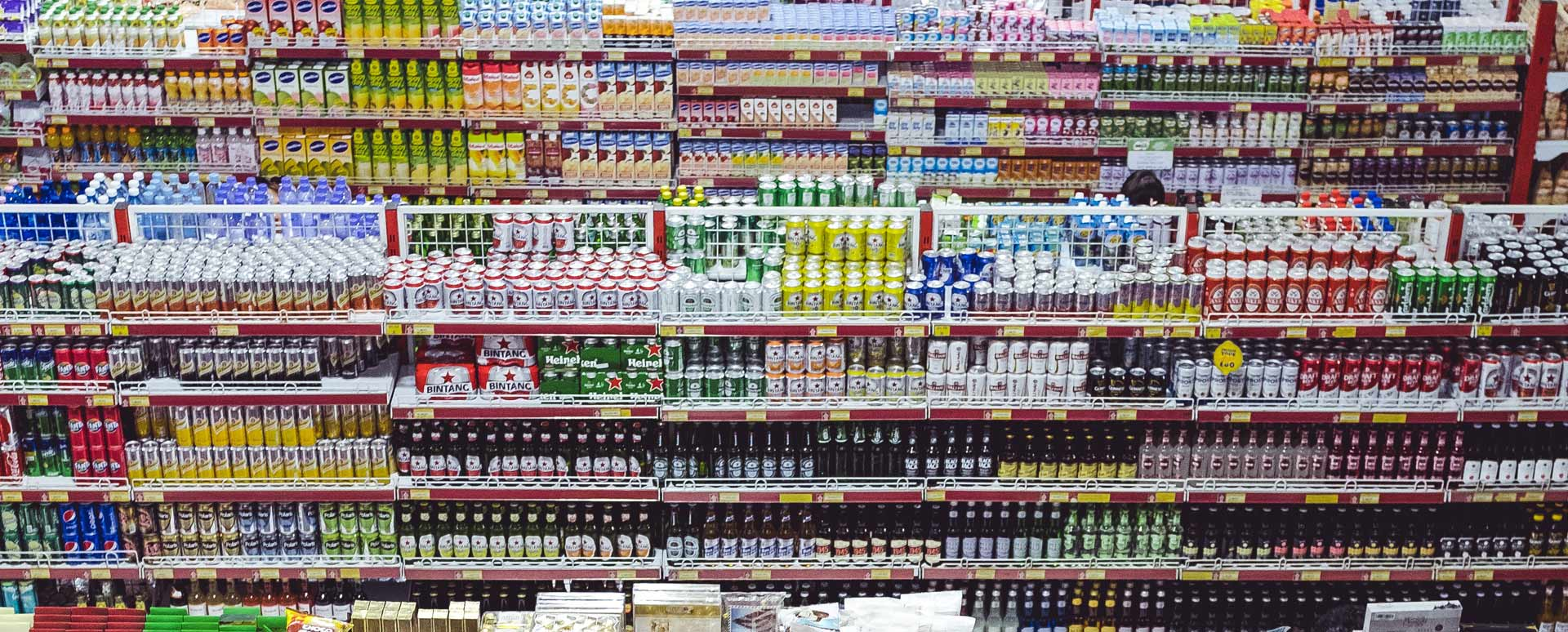 Shelves full of stock at a supermarket
