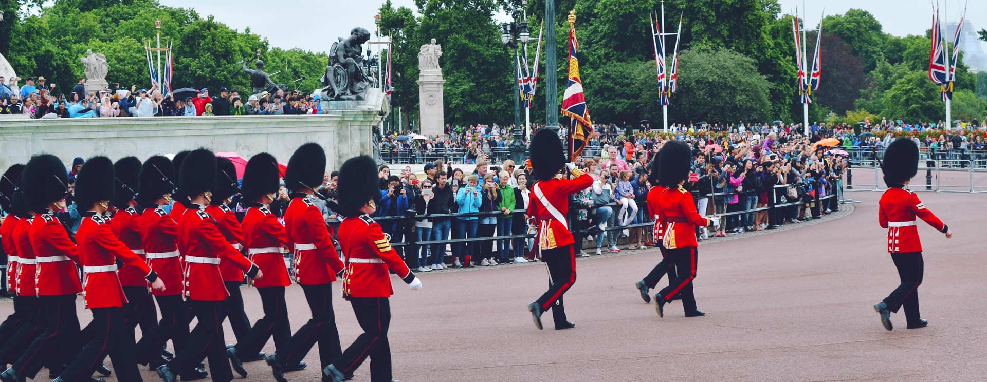 Guards marching in Buckingham Palace in London